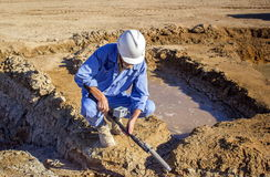 Radiation monitoring. In industrial areas in the steppes of southern Kazakhstan stock image
