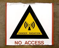 Radiation no access sign. A printed paper Danger Radiation No Access sign pasted on a door Royalty Free Stock Image
