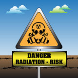 Radiation risk sign. Abstract colorful illustration with warning sign for radiation in front of a barbed wire fence. Danger radiation risk symbol Royalty Free Stock Photo