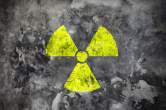 Radiation sight on grey wall Royalty Free Stock Images