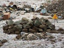 Radiation sign. A warning sign of radiation contamination Royalty Free Stock Photo