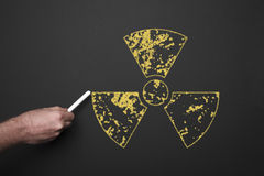Radiation Sign On The blackboard Royalty Free Stock Photo