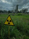 A radiation sign in Chernobyl royalty free stock image