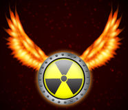 Radiation sign. With fire wings. EPS10 vector Stock Image