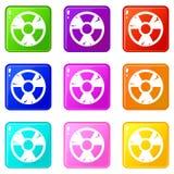Radiation sign icons 9 set Stock Image
