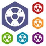 Radiation sign icons set hexagon Royalty Free Stock Photos