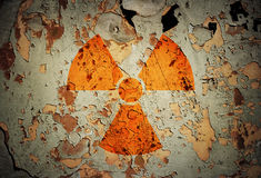 Radiation !. Radiation sign on an old background stock image