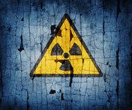 Radiation sign. On an old background stock photo