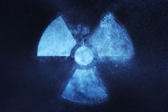 Radiation sign, Radiation symbol. Abstract night sky background Stock Images