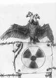 Radiation symbol. Two headed mutant vulture on the tablet with barbed wire and radiation sign. Pencil drawing, sketch Royalty Free Stock Photography