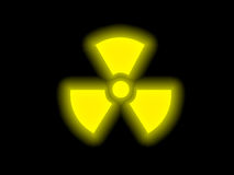 Radiation symbol. Glowing in yellow Stock Photos