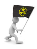 Radiation symbol on flag. Isolated 3D Stock Image