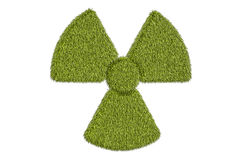 Radiation symbol from grass, 3D rendering. Isolated on white background Stock Photos