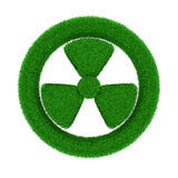 Radiation symbol from grass. Isolated 3D Royalty Free Stock Photography