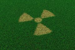 Radiation symbol from thatch on green grass Stock Photo