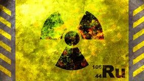 Radiation symbol, yellow background. 3d illustration. Radiation symbol on yellow background, view from above. 3d illustration stock illustration