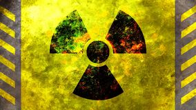 Radiation symbol, yellow background. 3d illustration Royalty Free Stock Images