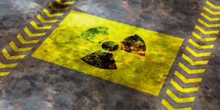 Radiation symbol, yellow background. 3d illustration. Radiation symbol on yellow background, view from above. 3d illustration Royalty Free Stock Image