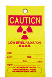 Radiation Tag. Used to warn people about the detection of radiation in industry Stock Images