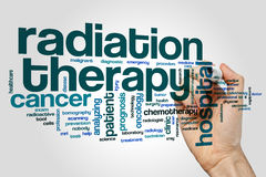 Radiation therapy word cloud. Concept on grey background stock images