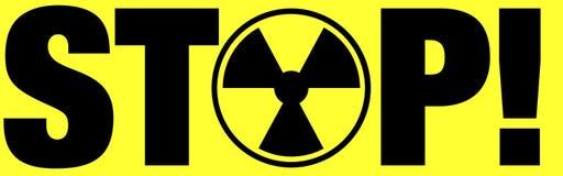 Radiation warning. Yellow and black radiation warning sign, stop Stock Photos