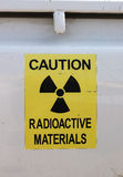 Radiation warning. Radioactive materials warning on the side of a pick-up truck Stock Photo