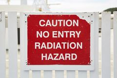 Radiation Warning Sign. On a radar station Royalty Free Stock Image