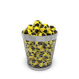 Radiation wastebasket. Nuclear waste (radiation ecology concept). Radioactive isotopes with nuclear sign in the trash bin (wastebasket) as symbol of serious Stock Photo