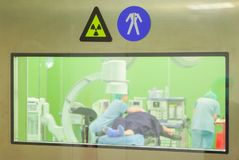 Radiation Work Clothes Signs Surgery Hospital stock photo