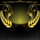 Radiative background with plants. Gilt floral ornament on black background radiant Royalty Free Stock Photography