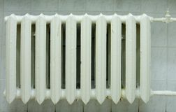 Radiator. White radiator on the white wall Stock Photography