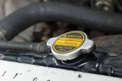 Radiator Cap: Never Open When Hot Stock Photos