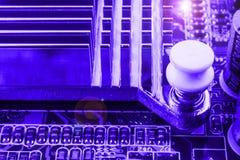 Radiator on chip of northbridge of computer motherboard close macro Royalty Free Stock Image