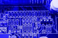 Radiator on chip of northbridge of computer motherboard close macro Royalty Free Stock Photo