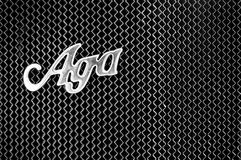 Radiator and the emblem of the car AGA Typ C6/20. BERLIN - MAY 28: Radiator (engine cooling) and the emblem of the car AGA Typ C 6 / 20 PS (Black and White), the Royalty Free Stock Photos