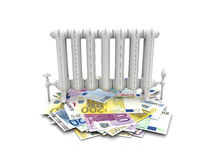 Radiator on euro bills Stock Photo