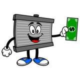 Radiator Mascot with a Dollar. A vector cartoon illustration of a motor radiator mascot holding a Dollar stock illustration