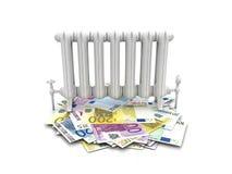 Radiator op euro rekeningen Stock Foto