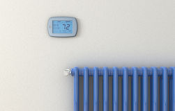Radiator and panel thermostat Royalty Free Stock Photography