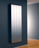 Radiator in a room. Room with a modern radiator on a dark wall (3d render Stock Image