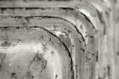 Radiator. Rusty household cast iron radiator fins Royalty Free Stock Images