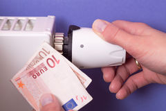 Radiator thermostat, banknote and hand - purple Stock Image
