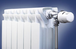 Radiator with thermostatic head Stock Image
