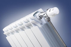 Radiator with thermostatic valve set Royalty Free Stock Photo