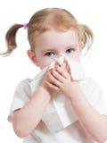 Radiatore anteriore corrente di pulizia del bambino con il tessuto isolato Immagini Stock