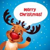 Radiatore anteriore di rosso della renna di Natale Fotografia Stock Libera da Diritti