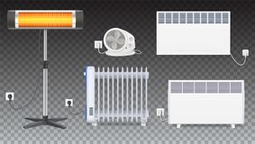Radiatore elettrico dell'olio, radiatore con il fan, pannello del radiatore, radiatore dell'alogeno del quarzo con la lampada di  Fotografia Stock Libera da Diritti