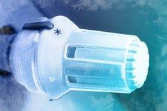 Radiatore ghiacciato di difetto del regolatore di calore fotografie stock