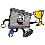Radiatormascotte die met een Trofee lopen stock illustratie
