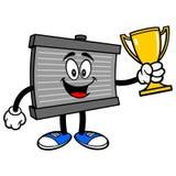 Radiatormascotte met een Trofee royalty-vrije illustratie